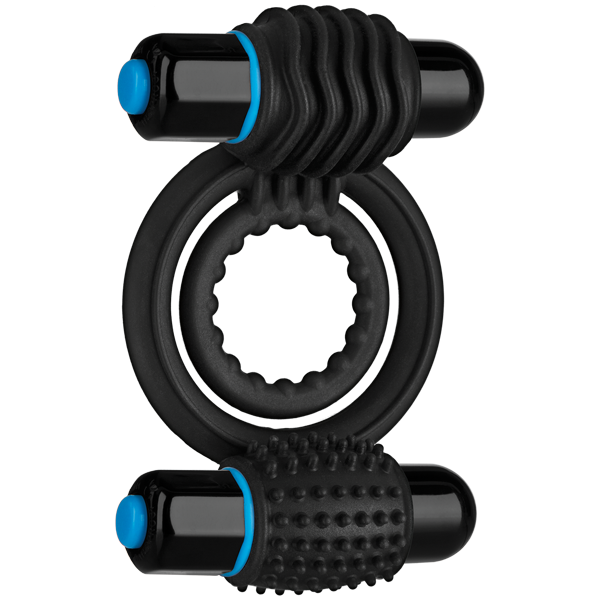 Optimale Silicone Vibrating Double C-Ring Waterproof - Black
