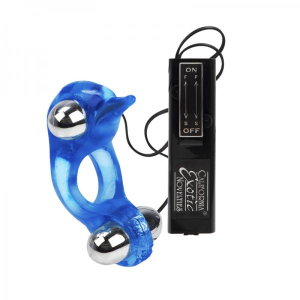 Diving Dolphin Vibrating Love Ring Blue