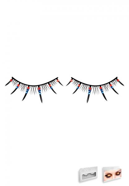 Red Blue Rhinestone Eyelashes Style 495