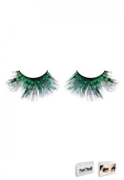 Black Green Feather Eyelashes Style 639
