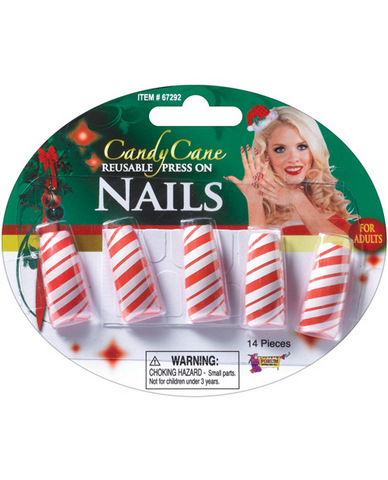 Candy Cane Reusable  Press On Nails
