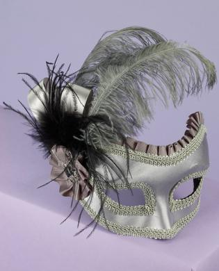 Satin and Feather Half Mask on Glasses - Silver