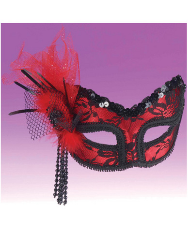 Neon Red Lace Mask O/S