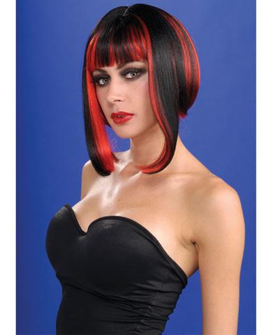 Vixen wig - black w/red streaks