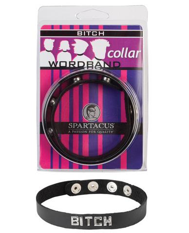 Wordband Collar Bitch  - Black