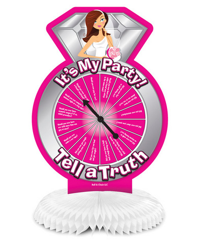 Bride-to-be it's my party tell a truth centerpiece spinner game
