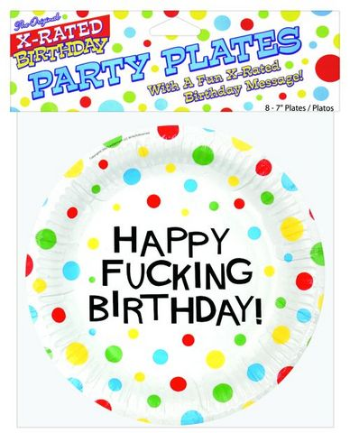 Happy fucking birthday 7in plates - 8 per pack
