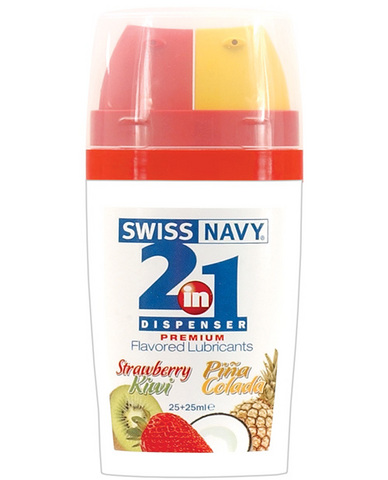 Swiss navy 2-in-1 strawberry kiwi/pina colada flavored lubricants - 50 ml bottle