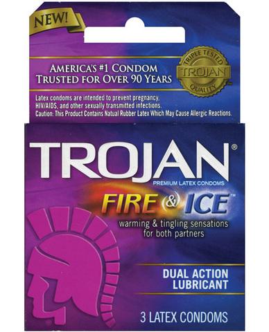 Trojan fire and ice condoms - box of 3