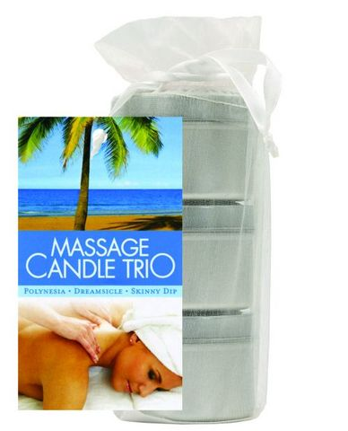 Earthly body massage candle trio gift bag - 2 oz skinny dip, dreamsicle, and polynesia
