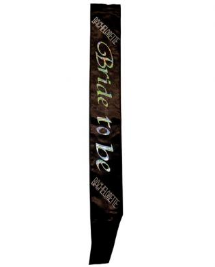 Bachelorette bride to be non flashing sash - black