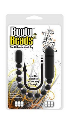 "Booty Beads Vibrating Waterproof Anal Beads 9.5"" - Black"