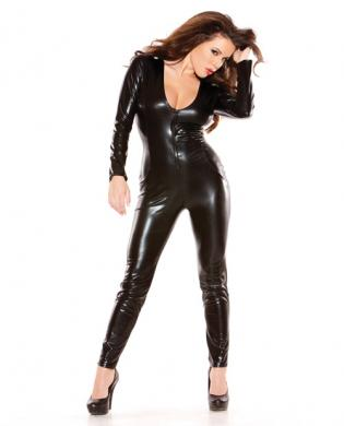 Sexy Kitten Wet Look Catsuit Black O/S
