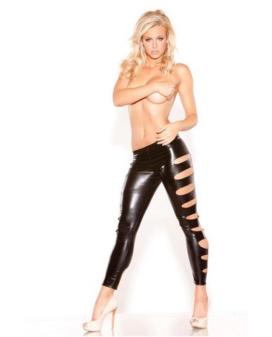 Kitten wet look femme fatale leggings black o/s