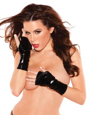 Kitten wet look mini gloves black o/s