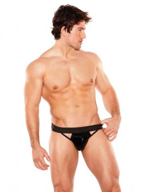 Zues wet look jock thong black o/s