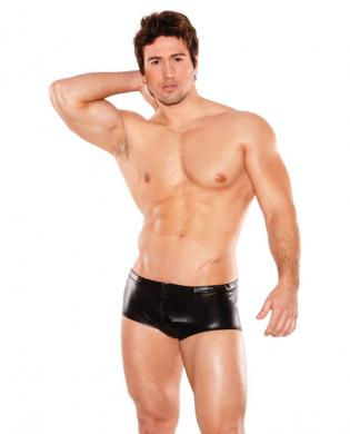 Zues wet look front zipper short black o/s