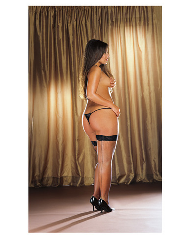 Stay up fishnet thigh hi w/back seam black qn
