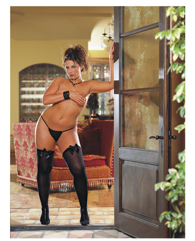 Opaque thigh high w/satin bow black qn
