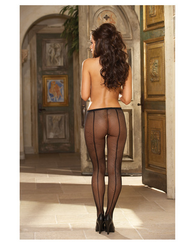 Fishnet panty hose w/back seam black o/s