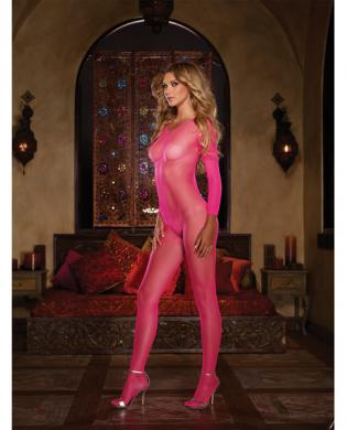 Fishnet long sleeved open crotch bodystocking pink o/s