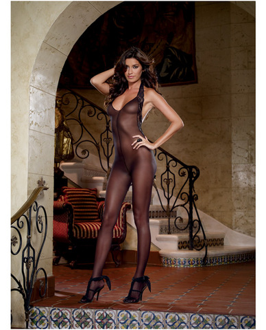 Sheer Halter Bodystocking Black O/S