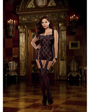 Lace Garter Dress Attached Stockings Black Queen