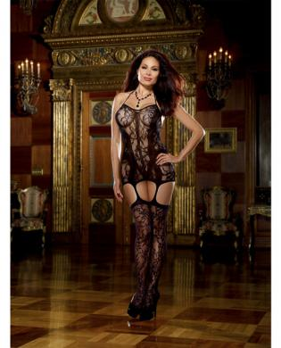 Lace fishnet halter garter dress