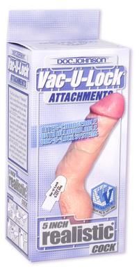Vac-U-Lock 5 Inch Realistic Dong Beige