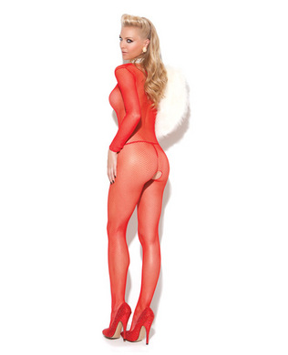 Vivace deep v fishnet bodystocking red o/s