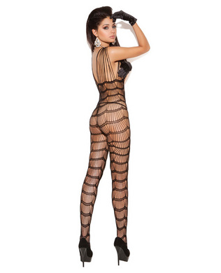 Vivace vertical striped bodystocking black o/s