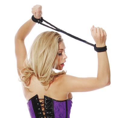 Fetish Fantasy Silk Rope Love Cuffs Black