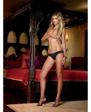 Microfiber cheeky panty w/cross dye lace back and satin bow trim black/gold small