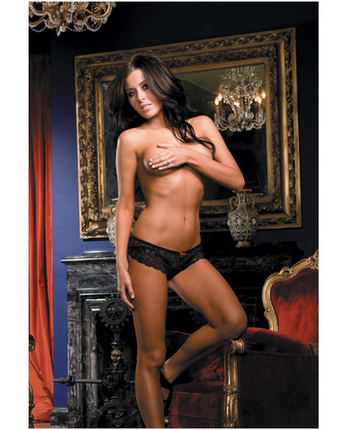 Open for business stretch lace short w/open crotch lace overlap black medium