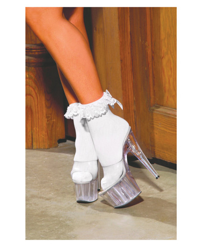 Nylon anklet w/ruffle and satin bow white o/s