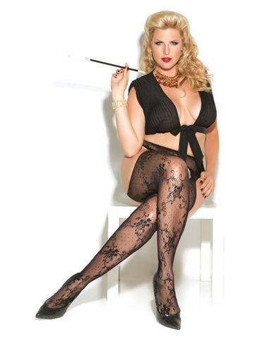 Vivace lace suspender pantyhose black qn