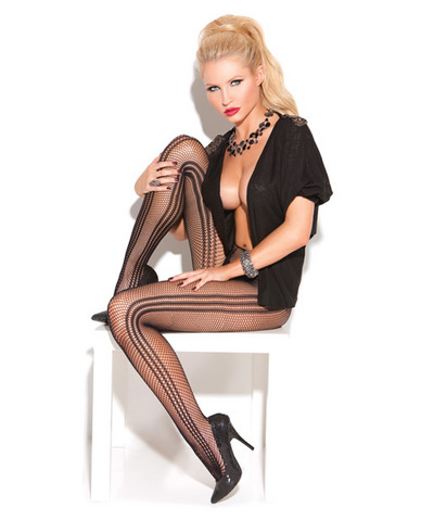 Vivace vertical striped fishnet pantyhose black o/s