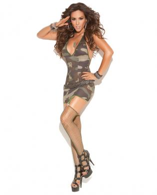 Vivace Mini Dress with Garters, Stockings Camouflage O/S