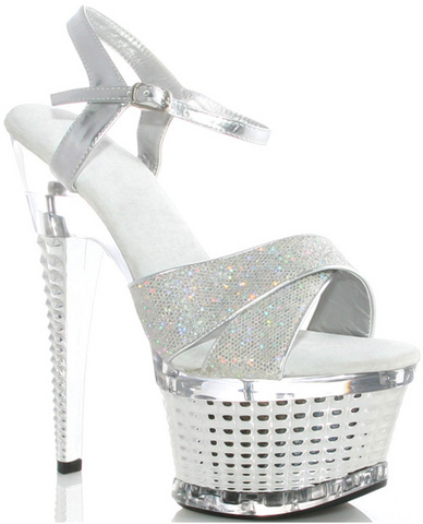 Ellie shoes disco 6in crossed strapped textured platform silver ten