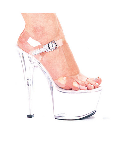 Ellie shoes, flirt 7in pump 3in platform clear six