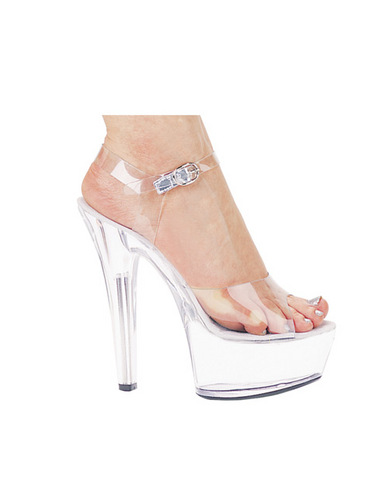Ellie Shoes, Brook 6in Pump 2in Platform Clear Size 9