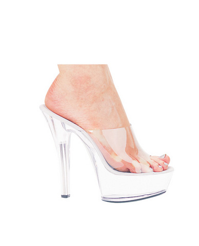 Ellie shoes, vantiy 6in pump 2in platform clear ten