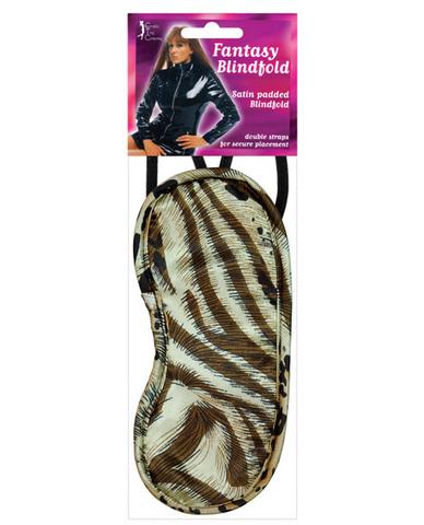 Satin Blindfold 2 Strap - Leopard