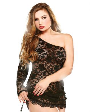 Off the Shoulder Lace Dress w/Adjustable Detail and Thong Black 1X/2X