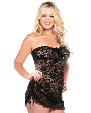 Strapless Lace Dress w/Adjustable Side Detail and Thong Black 1X/2X
