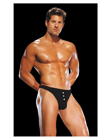 Male power e-z access button thong black s/m