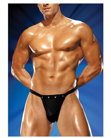 Male power rip off thong w/studs black l/xl