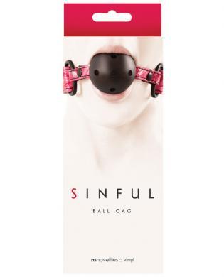 Sinful Adjustable Vinyl Ball Gag - Pink
