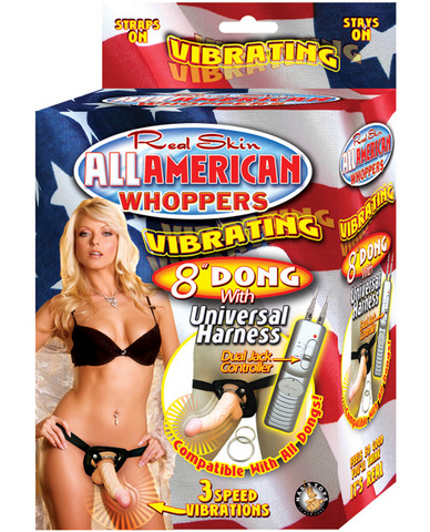 All American Whopper Vib 8in Dong W/Harness - Beige