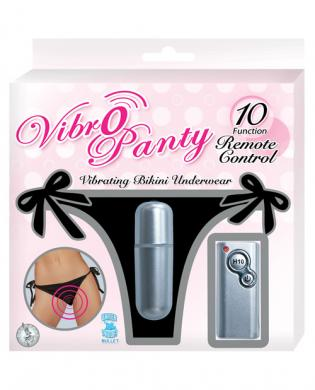 Vibro Panty Bikini 10 Function Remote Control Waterproof O/S - Black